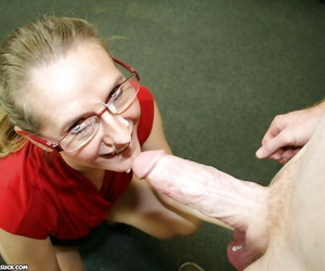 Stunning mature blonde in glasses sucks a big cock and gets a facial