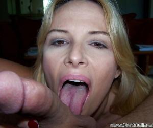 Full-bosomed mature blonde Lynn Lemay flaunting the brush titjob skills