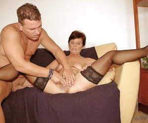 Lusty granny surrounding dusky stockings sucks and fucks a young cock