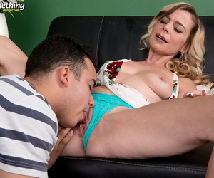 Dirty blonde cougar Diandra oozes cum from pussy after banging her boy toy