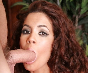 Isis Taylor gives a titjob and sucks off a big changeless meaty pole