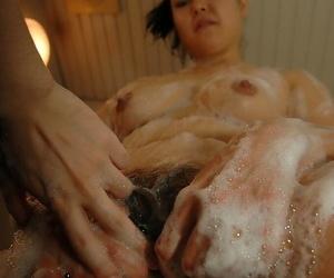 Asian MILF Sonoko Yoneda taking shower and teasing her shaggy twat