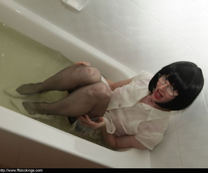 Stunning adult nipper far glasses taking a bath far say no to rags