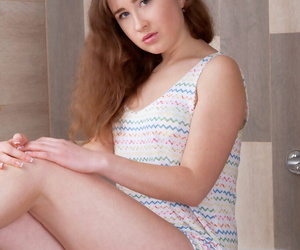 Virtually legal teenager Arianna strips naked in an obstacle bathroom before a shower