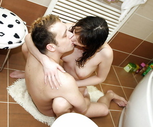 Fuckable teen girl with nice melons Leo gets pounded connected with the bath
