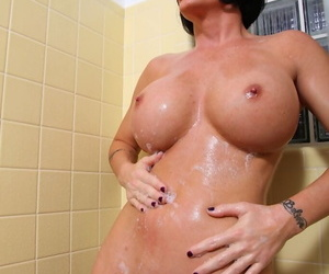 Slutty pornstar Shay Prince of darkness taking shower coupled with working with shaved snatch