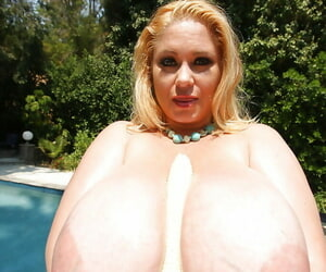 Obese and beautiful babe Samantha 38G shows her huge titties alfresco