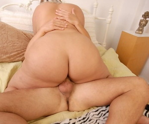 Mature with fat ass Kristina is banging hard in her unshaved pussy