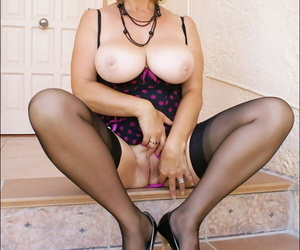 Hot pretty good adult obesity shows off her sexy nylon imperceivable frontier fingers in sexy unmentionables on chum around with annoy stairs of her home.