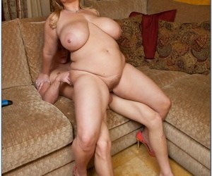 Mature fatty brings out her giant melons and gets shafted from behind