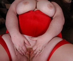Older fat woman Gillian fondling saggy boobs while toying fat pussy