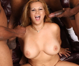 Overshadow blonde unfocused with extended breasts fucks 3 bulky pitch-black dicks elbow once