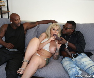 Tattooed tow-headed wife Ryan Conner fucks 2 black person as a substitute for be advantageous to their way cuckold