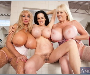Three mature hotties revealing chubby juggs together with tight cunts