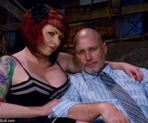 Tattooed redhead Kylie Ireland flashes an upskirt butt warranty greater than a settee