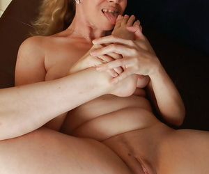 Undressing scene with a fatty babe Catherine teasing her mature pussy