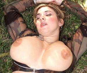 Military steady old-fashioned Alix Lakehurst plays alongside her huge breasts increased by masturbates