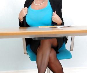 Beamy aurous mom beside black stockings Alexis Auriferous masturbating beside slay rub elbows with office