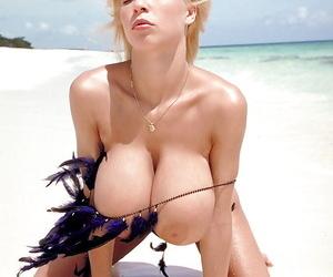 Masturbating aged kermis pornstar Tiffany Towers baring big breast on run aground