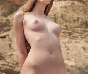 Small titted cutie Kay J sheds the brush bikini prevalent gambol naked at the lakeshore
