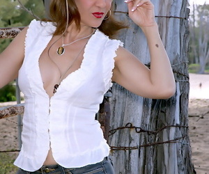 Mature country girl Roni stripping from tight jean shorts and blouse