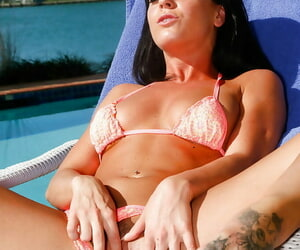 Hot spoil Rahyndee James masturbating as A she shows her tattoo on an alfresco scence