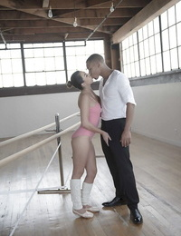 Latina teen Melissa Moore giving interracial bj in dancers outfit