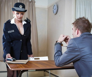 Uniformed babe LouLou has her pussy pounded hard in a office