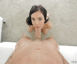 Barely legal babe Marley Brinx giving POV blowjob massive penis