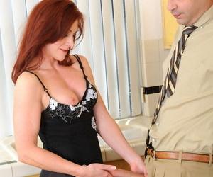 Mature woman Catherine Desade seduces her hubby in sensual lingerie