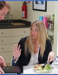 Busty MILF teacher Jordan Kingsley gets her lunch cut short for hot sex