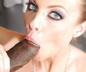 Pornstar Britney Amber giving BBC interracial bj in police uniform