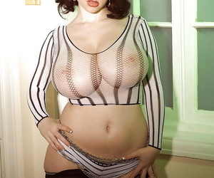 Chubby European MILF Karina Hart releasing massive boobs from mesh blouse