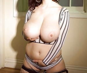 Chubby European MILF Karina Hart releasing massive boobs from mesh blouse