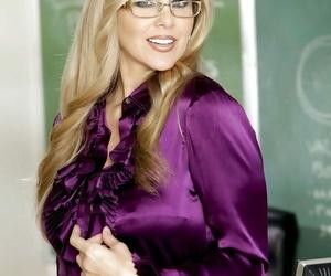 Seductive tow-haired teacher in glasses Julia Ann rapine in the batch
