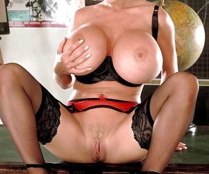 Adult blonde instructor SaRenna Lee exposing Herculean pornstar hooters