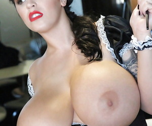 Sexy maid Leanne Crow is cleaning and playing with big boobies