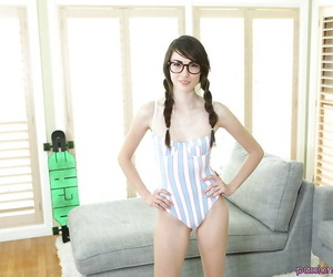 Pigtailed innocent teen Emily Grey is stroking say no to cute pussy
