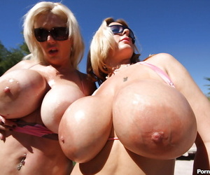 Mature babes with huge boobs Summer and Kayla dream of sex outdoor