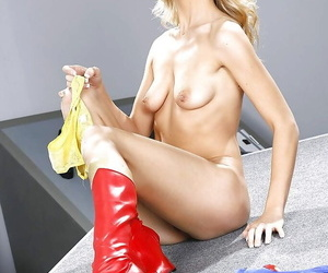 Comme �a pornstar Amanda Tate refulgent bore in boots plus cosplay uniform