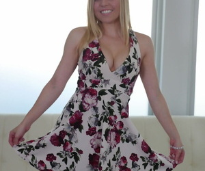 Blonde amateur Aubrey Sinclair sheds summer dress to pose in the nude