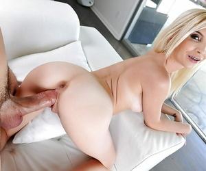 Petite blonde pornstar Piper Perri alluring cumshot newcomer disabuse of big cock on braces