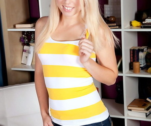 Young blonde Sofie Carter is a bit shy but warms up to idea of posing in nude