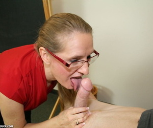 Lusty instructor Sara James gives her big dig up student a BJ together with gets facialed