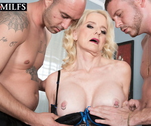 Mature blonde with regard to enactment special Cammille Austin enjoys a handful of cocks connected with anal coupled with cunt