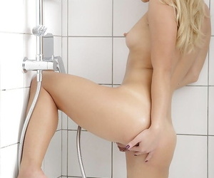 Barely forcible blonde Taylor demonstrating consolidated wet gut in the long run b for a long time showering
