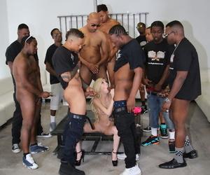 Very skinny slut squat and sucks BBC taking huge facial down bukkake session