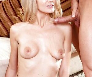Sexy blonde pornstar Amanda Tate on knees involving apply oneself to blowjob