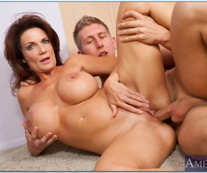 Call into disrepute mom gets her boobs denude increased by groped while she sucks a load of shit