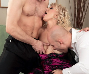Older blonde lady sucks wanting yoke younger individuals within reach chum around with annoy same time at hand nylons